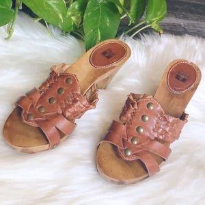 Frye Cognac wood slip on clogs/sandals